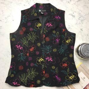 Vintage Carol Little Embroidered Black Flower Top